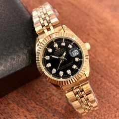 即決・送料無料!ロレックス・デイトジャストタイプ レディース腕時計・ブラック×ゴールド