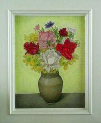 絵画 油絵 服部和三郎 『薔薇と金鶏菊』真作保証