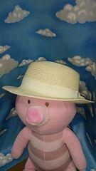 アースミュージック♪美品♪カンカン帽♪リボン付♪コサージュ♪