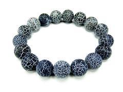 レア天然石黒フロストドラゴンアゲート12mm数珠ブレスレット