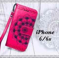 iPhone6/6s 手帳型ケースフラワー ストラップ    フィルムピンク