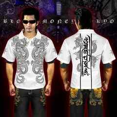 送料無料オラオラ系和柄半袖ポロシャツ/ヤンキーヤクザ メンナクホスト 服16009白-XL