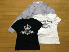 LAST SCENE(ラストシーン)ストライプシャツ+Tシャツ2枚セット