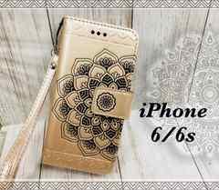 iPhone6/6s 手帳型ケース ストラップ +液晶フィルム 金