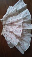 ハンドメイドフリルスカート後リボン小花柄赤系110