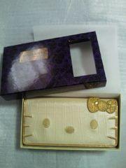 ハローキティ P&C クロコダイル 風 フェイス 刺繍 ワレット ゴールド 財布 箱付