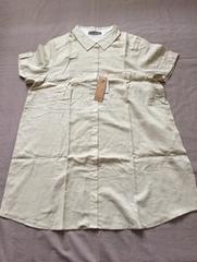 新品3L 麻混ロング丈の半袖シャツ
