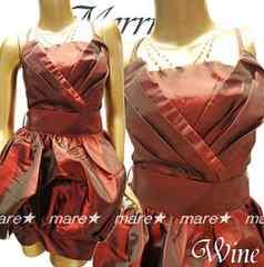 新品☆バルーン裾 煌きシャンタンミニドレス赤系/結婚式♪