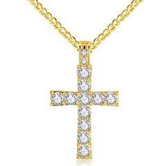 特A品 新品1円〜★送料無料★ ダイヤモンド 十字架クロス ゴールドネックレス