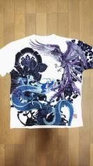 セール 新品[ 絡繰魂 ]龍神と鳳凰 刺繍 半袖Tシャツ スカジャン好きにも