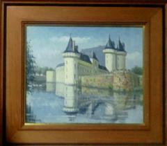 絵画 油絵 西村正次 Sullyの城(フランス・ロワールの城)真作保証 巨匠
