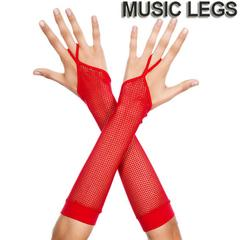 A623)MusicLegsフィッシュネットワンフィンガーアームグローブ赤レッドアームウォーマー手袋