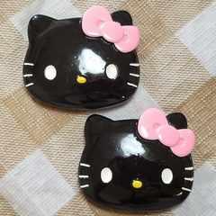 R ☆ 中パーツ ☆ 2 コ ☆ 黒 キティ フェイス ☆ 約 4.5 cm