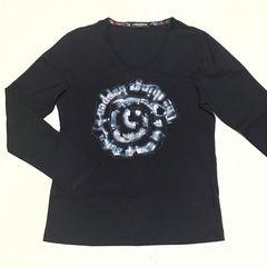 【美品】V首長袖カジュアルTシャツ/メンズ M/黒/HIDEAWAY NICOLE