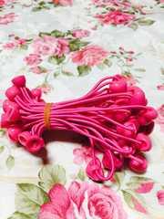 即決 半カップヘアゴム ハート玉付き 濃いピンク 30本 手芸材料