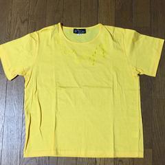 イエロー リボンデザインが素敵な半袖Tシャツ ゆったりM