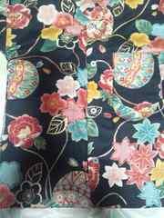 ☆新品黒麻葉×牡丹金彩花束大鞠和柄ダボシャツ110
