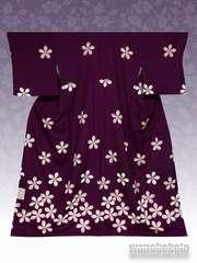 【和の志】洗える着物◇袷・付下げ◇小豆色系・桜柄KTK-128