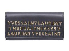 サンローラン レザー 二つ折り長財布 ブラック<USED>送料無料