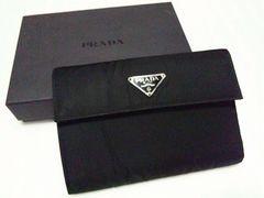 PRADA☆三つ折り財布 ナイロン×レザー ブラック M510