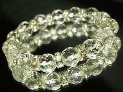 神秘的な力をもたらす!!64面ダイヤカット水晶10mm数珠ブレスレット