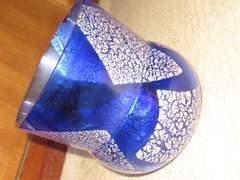 未使用☆ガラス製*ポット*花瓶*小物入れ*銀粉(ブルー)