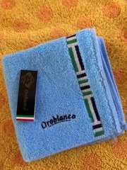 オロビアンコタオルハンカチ※1枚ロゴ刺繍 サックス