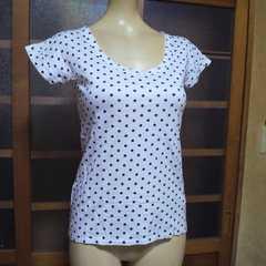 rienda/リエンダ白×黒 ドット柄 Tシャツ