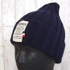 帽子♪ラベル付き デザイン ニット帽 ネイビー
