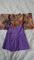 キ1・難アリ 送込 新品☆ハンドメイド お宮参り 羽織紫袴風ドレス