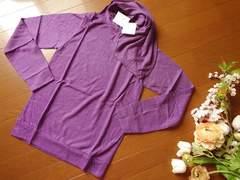 新品Rba+1紫ストール付きアンゴラ混長袖ニットMサイズ