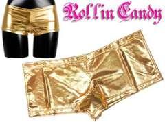 9S7)メタリックインナーホットパンツゴールドダンサーダンス衣装チアガールショーツ下着見せパン