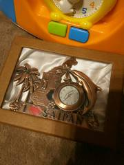 置き時計サイパン購入ゴールドメモ帳立てインテリアヤシの木南国