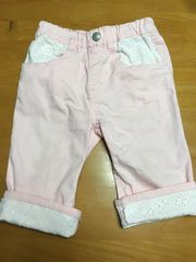 西松屋 裾レースアップパンツ ピンク