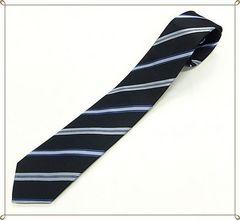 ジャガード織り★シルクネクタイ (紺系ストライプ)