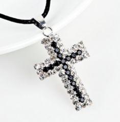 新品1円〜★送料無料★ ギラギラ 豪華ブラックダイヤ 十字架ネックレス