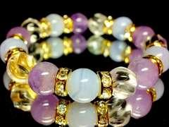 ブルーレース§ラベンダーアメジスト§トルネード水晶10ミリ金ロンデル数珠