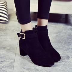 ブーツ ショートブーツ 靴スエード 太ヒール美脚  22.5〜24.5cm