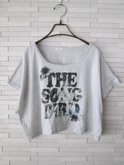 即決/OLIVE des OLIVE/ワイドスリーブロゴラメTシャツ/グレー