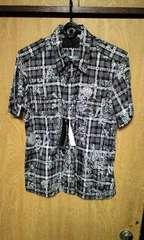 新品ROENロエン ラメストライプスカルスタッズプリントチェックシャツ 46