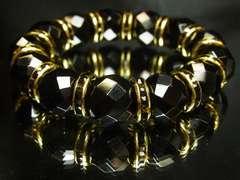 オラオラブレスレット!!ブラックダイヤカットオニキス14mm数珠ブレスレット
