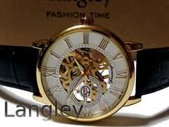 新品 未使用 Langley【両面スケルトン】美しいメンズ腕時計 箱付