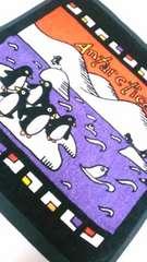 ★新品★ペンギン タオルハンカチ/ブラック&パープル  《一点のみ!》