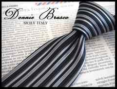 送料無料【DONNIE BRASCO】シルク 黒地×ストライプ333