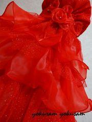 豪華★ストール付き!★120★情熱の赤!キラキラドレス