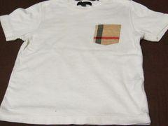 バーバリー子供服.お洒落なシンボル英国チェックポケット.100サイズシンプルΤシャツ