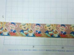sale【カントリー風ドット】22mm巾ダッフィー リボン1M