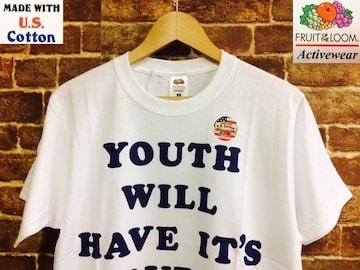 表記M/新品!U.S.Cotton使用 フルーツオブザルーム Tシャツ 白 アメカジ