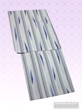 【和の志】夏の洗える着物◇紗Lサイズ◇薄鼠系・縞柄◇74
