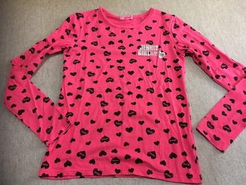 ジェニィ*ハート&ロゴ総柄ロンT*150、中古、濃いめピンク